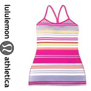 Lululemon striped Power Y tank- pink, white 4